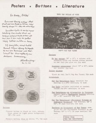 Posters Buttons Literature. War Tax Resistance