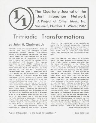 1/1: The Quarterly Journal of the Just Intonation Network [Set of 20 Issues]