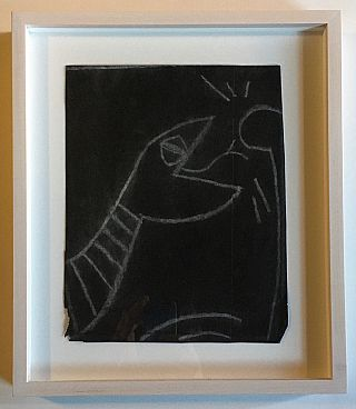 Original Keith Haring Subway Drawing Fragment (Serpent with Hand). Keith Haring